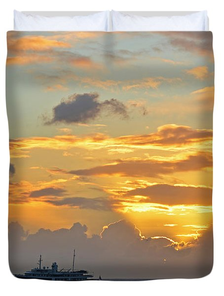 Sunset On Simpon Bay Saint Martin Caribbean Duvet Cover