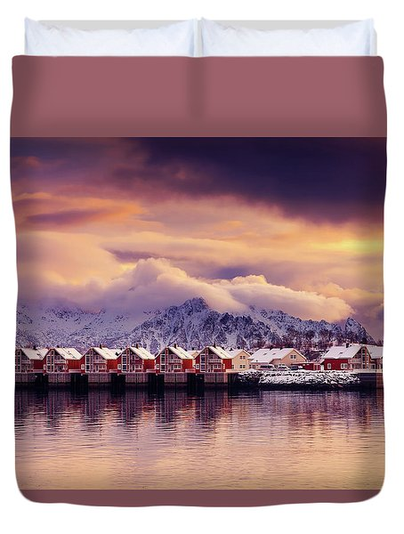 Sunset On Svolvaer Duvet Cover