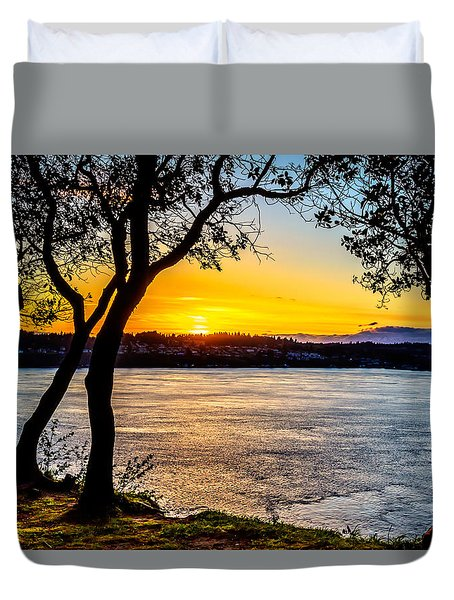 Sunset On Tacoma Narrows Duvet Cover