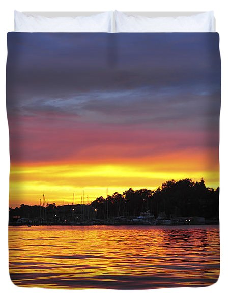 Sunset On The Bay Island Heights Nj Duvet Cover