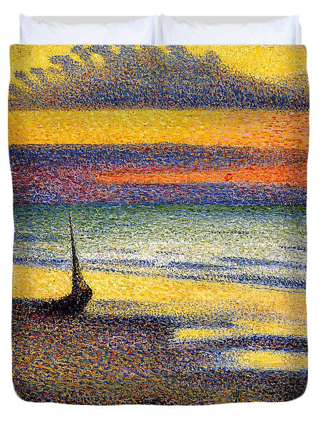 Sunset On The Beach 1891 Duvet Cover
