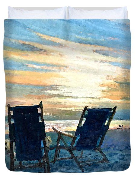 Sunset On The Beach Duvet Cover