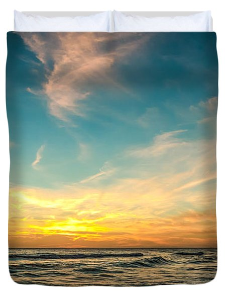Sunset On The Beach Duvet Cover by Phillip Burrow