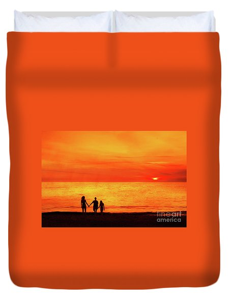 Duvet Cover featuring the digital art Sunset On The Beach by Randy Steele