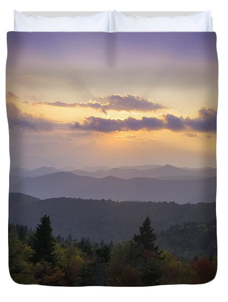 Sunset On The Blue Ridge Parkway Duvet Cover by Rob Travis