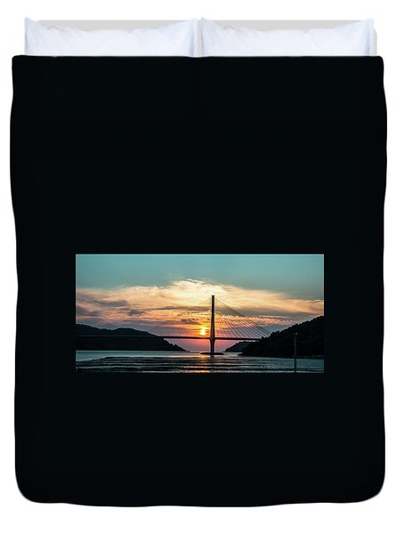 Sunset On The Bridge Duvet Cover