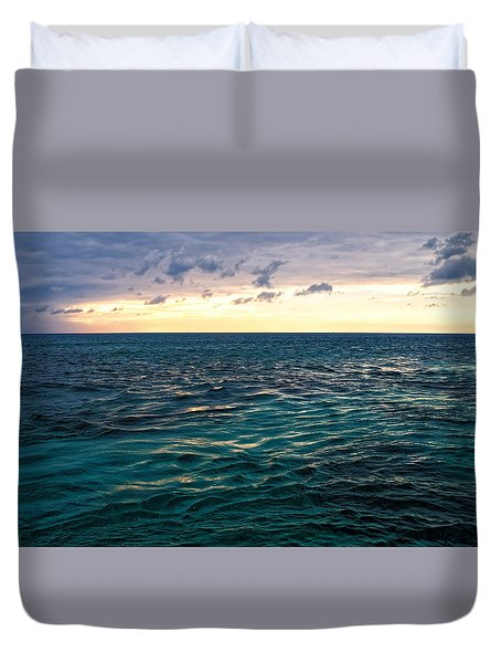 Duvet Cover featuring the photograph Sunset On The Caribbean by Lars Lentz