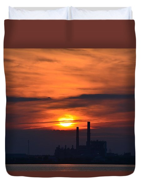Sunset On The Causeway Duvet Cover by Cathy Jourdan