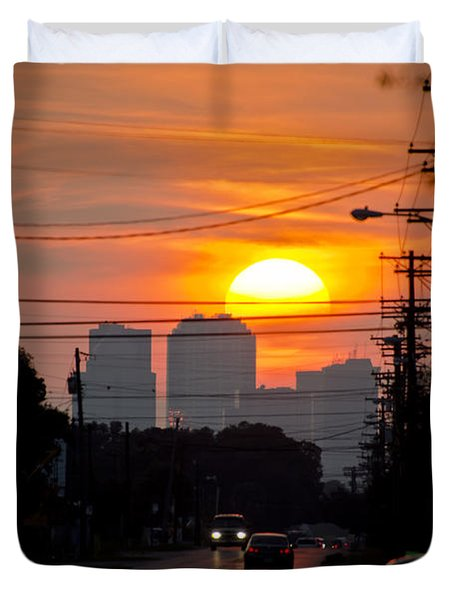 Duvet Cover featuring the photograph Sunset On The City by Carolyn Marshall