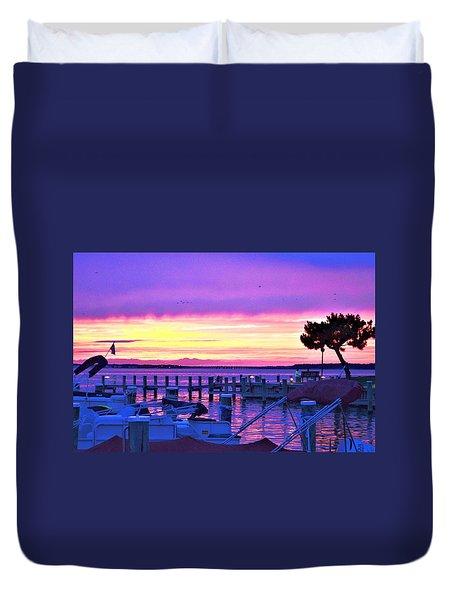 Sunset On The Docks Duvet Cover