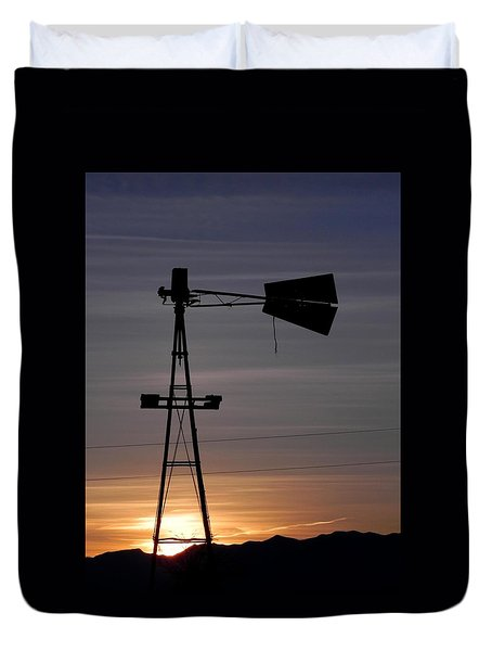 Sunset On The Farm Duvet Cover by Adrienne Petterson