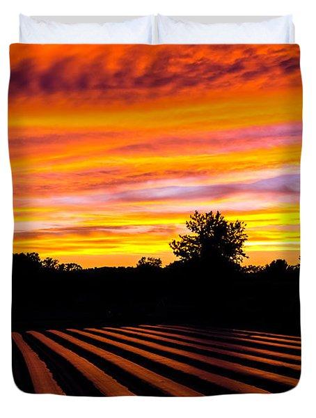 Sunset On The Farm Duvet Cover