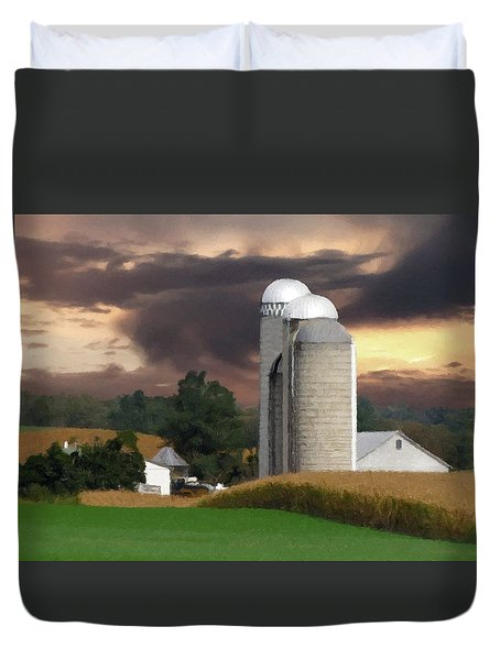 Sunset On The Farm Duvet Cover