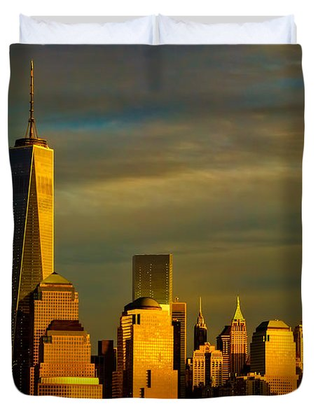 Sunset On The Financial District Duvet Cover