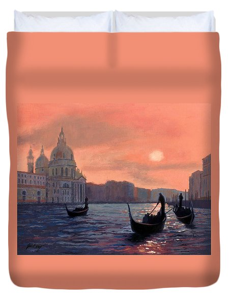Duvet Cover featuring the painting Sunset On The Grand Canal In Venice by Janet King