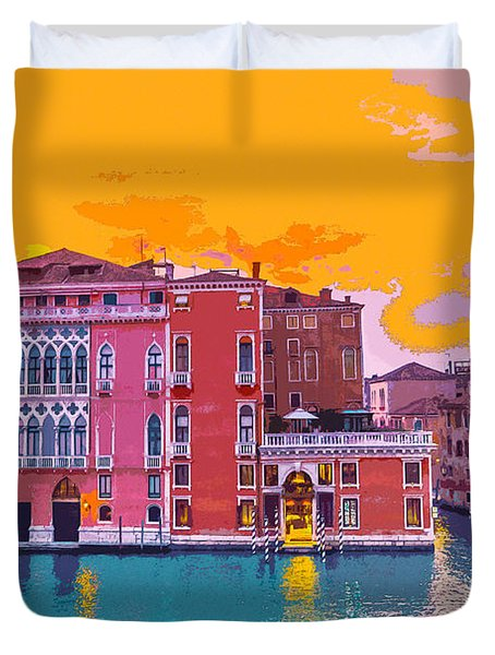 Sunset On The Grand Canal Venice Duvet Cover