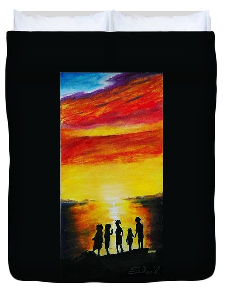 Sunset On The Great Salt Lake Duvet Cover