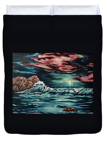 Duvet Cover featuring the painting Sunset On The Horizon by Cheryl Pettigrew