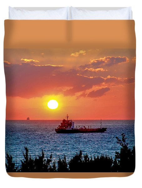 Sunset On The Horizon Duvet Cover