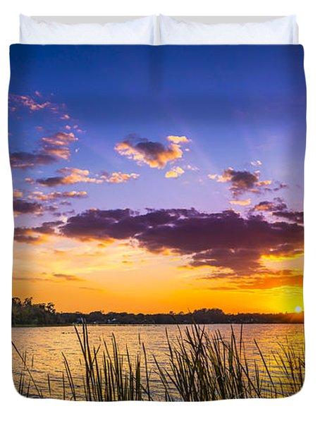 Sunset On The Lake Duvet Cover