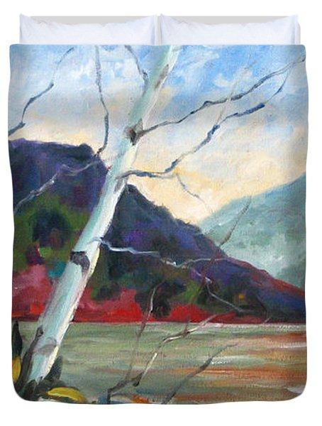 Sunset On The Lake Duvet Cover by Richard T Pranke