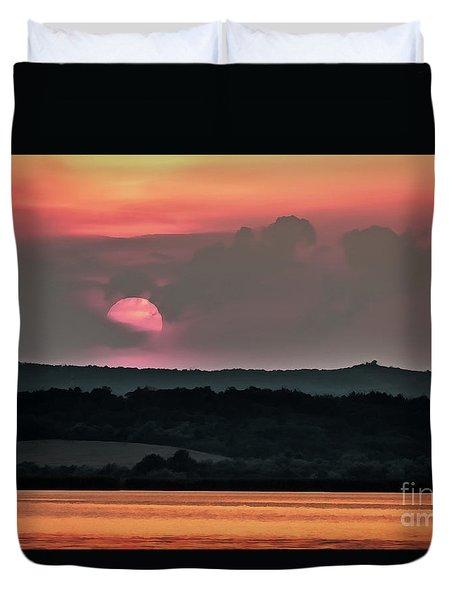 Sunset On The Lake Velence Paint Duvet Cover