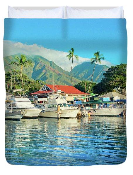 Sunset On The Marina Lahaina Harbour Maui Hawaii Duvet Cover