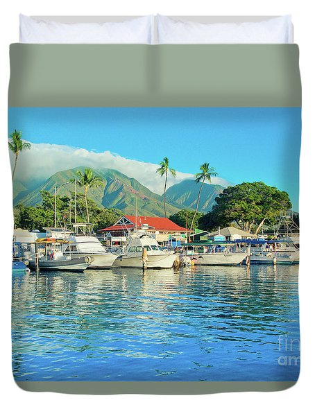 Sunset On The Marina Lahaina Harbour Maui Hawaii Duvet Cover