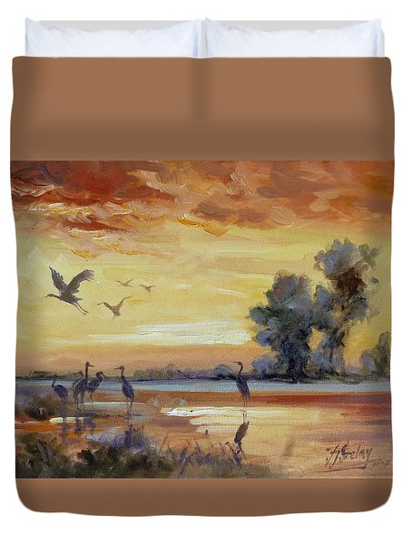 Sunset On The Marshes With Cranes Duvet Cover