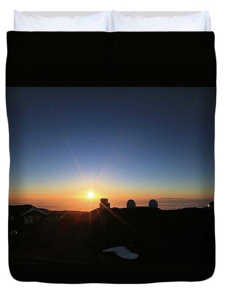 Sunset On The Mauna Kea Observatories Duvet Cover
