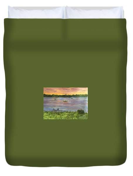 Sunset On The Merrimac River Duvet Cover
