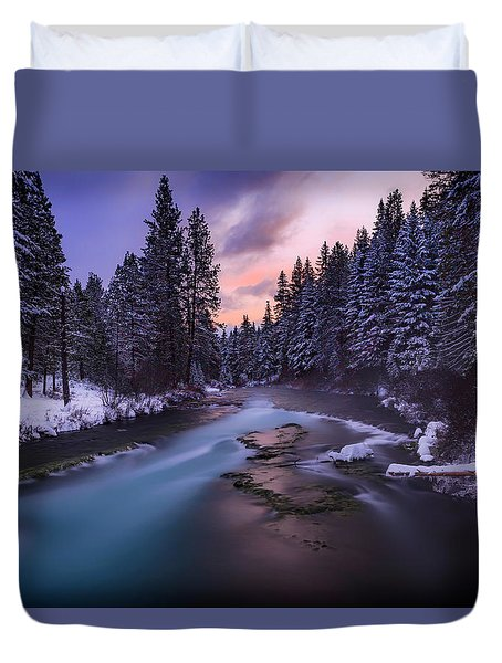 Duvet Cover featuring the photograph Sunset On The Metolius by Cat Connor