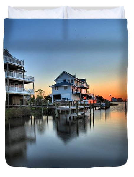 Sunset On The Obx Sound Duvet Cover by Adam Jewell