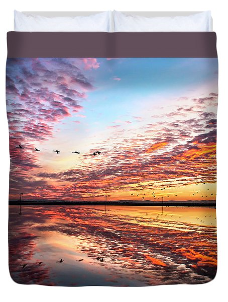 Sunset On The Pacific Flyway Duvet Cover