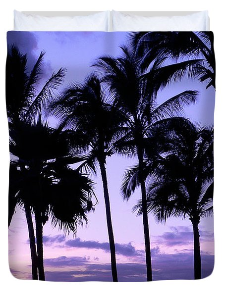 Duvet Cover featuring the photograph Sunset On The Palms by Debbie Karnes