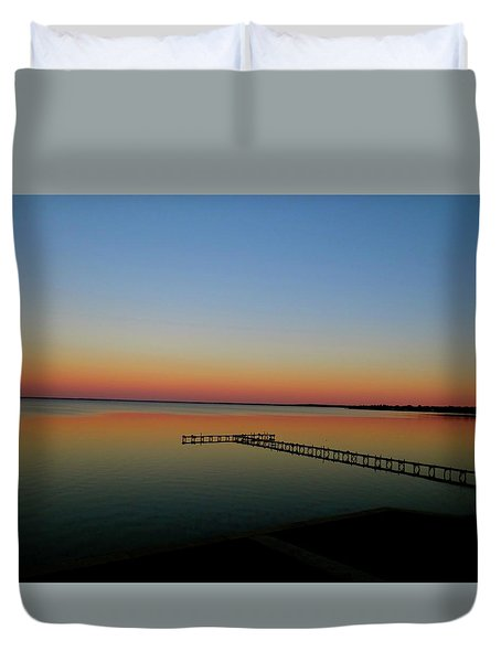 Sunset On The Pier Duvet Cover