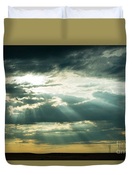 Duvet Cover featuring the photograph Sunset On The Plains by MaryJane Armstrong