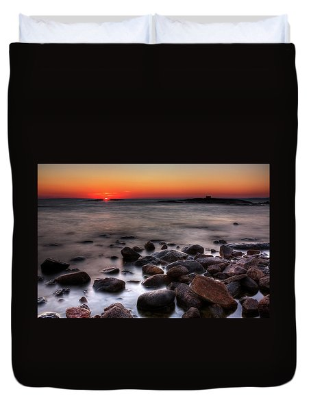 Sunset On The Rocks Duvet Cover by Brian Boudreau