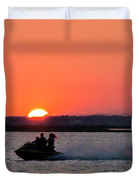 Sunset On The Ski Duvet Cover