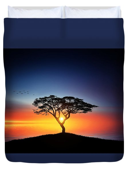 Sunset On The Tree Duvet Cover