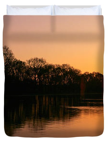 Sunset On The Washington Monument & Duvet Cover by Panoramic Images