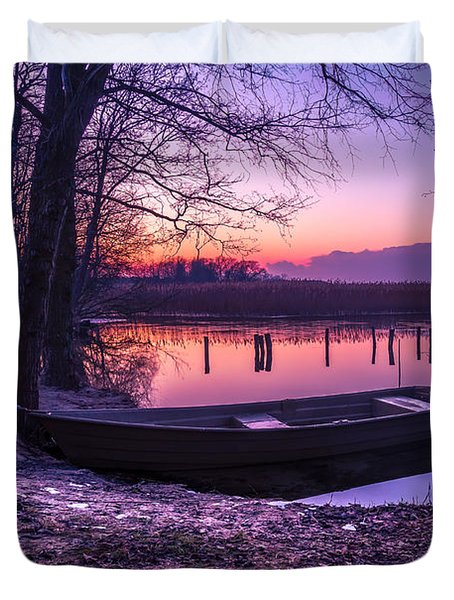 Sunset On The White Lake Duvet Cover by Dmytro Korol