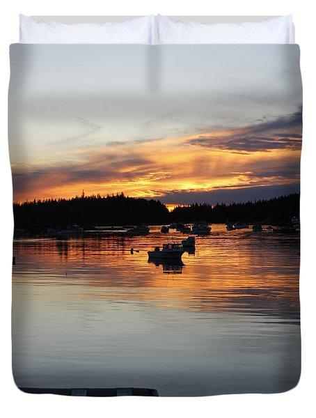 Sunset On Vinalhaven Maine Duvet Cover