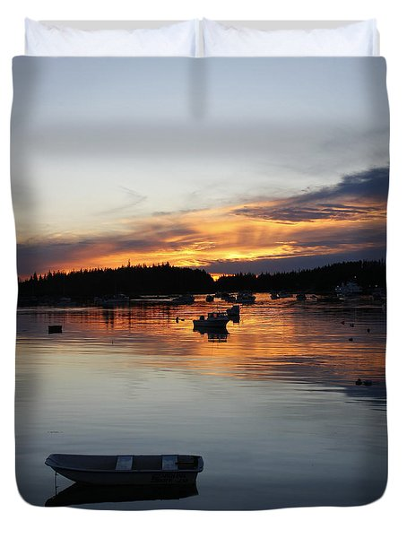 Sunset On Vinalhaven Maine Duvet Cover