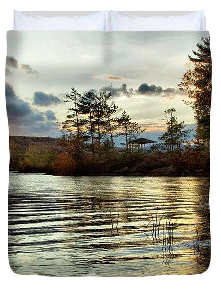 Sunset On Webster Lake  Duvet Cover