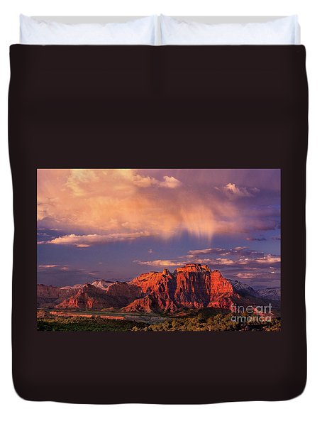Sunset On West Temple Zion National Park Duvet Cover by Dave Welling