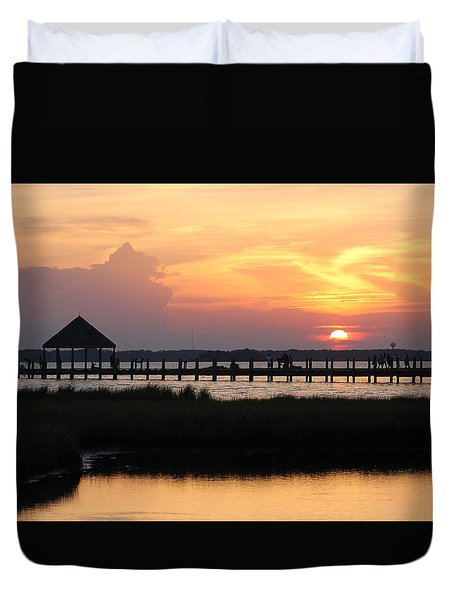 Sunset On Wetlands Walkway Duvet Cover