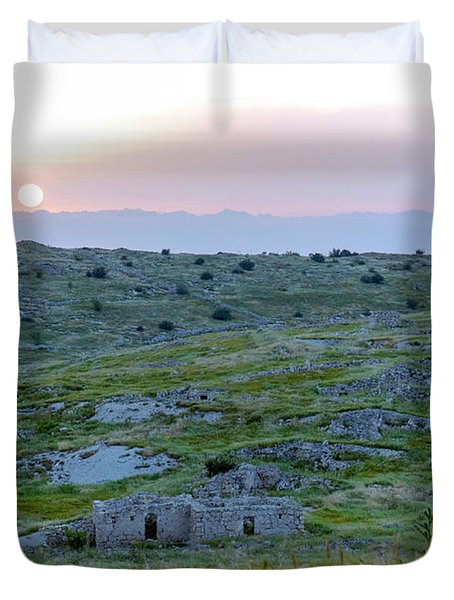 Sunset Over A 2000 Years Old Village Duvet Cover