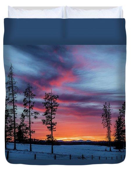 Sunset Over A Farmers Field, Cowboy Trail, Alberta, Canada Duvet Cover