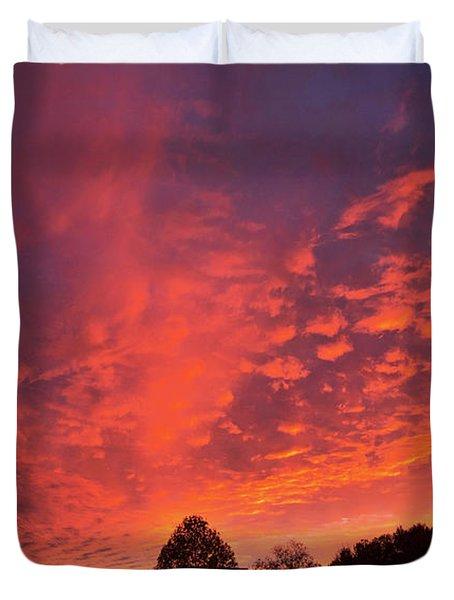 Sunset Over A Maine Farm Duvet Cover